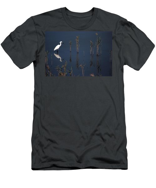 Reflection Of Little Egret In Lake Men's T-Shirt (Athletic Fit)