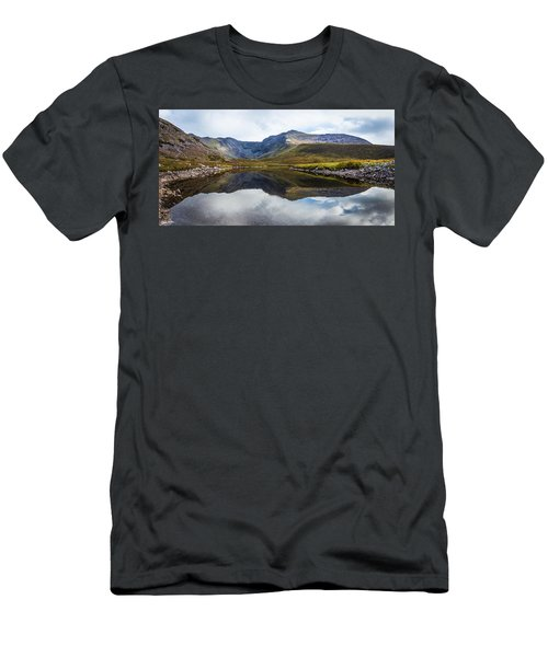 Men's T-Shirt (Slim Fit) featuring the photograph Reflection Of The Macgillycuddy's Reeks In Lough Eagher by Semmick Photo