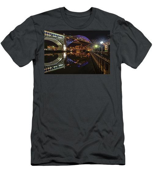 Men's T-Shirt (Slim Fit) featuring the photograph Reflections Of Veterans Memorial Bridge  by Brent Durken