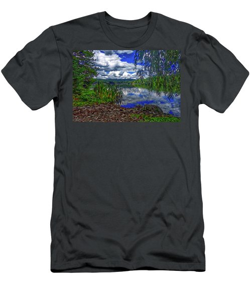 Men's T-Shirt (Athletic Fit) featuring the painting Reflective Lake by Joan Reese