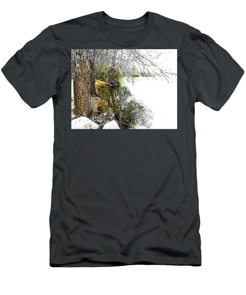 Reflective Trees Men's T-Shirt (Slim Fit) by Deborah Nakano