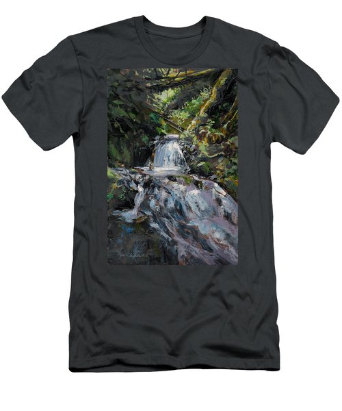 Refreshed - Rainforest Waterfall Impressionistic Painting Men's T-Shirt (Athletic Fit)