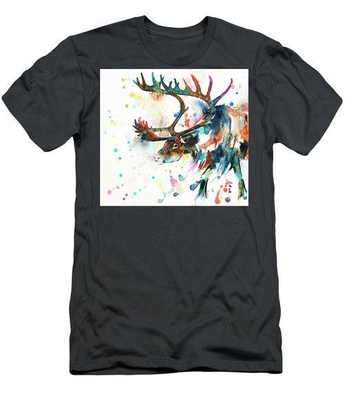 Men's T-Shirt (Athletic Fit) featuring the painting Reindeer by Zaira Dzhaubaeva