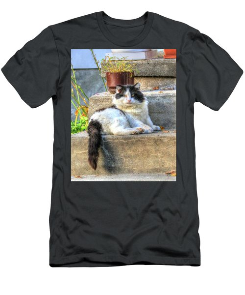 Relaxing On The Stairs Men's T-Shirt (Athletic Fit)