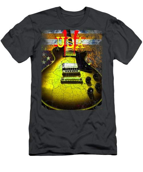 Relic Guitar Music Patriotic Usa Flag Men's T-Shirt (Athletic Fit)
