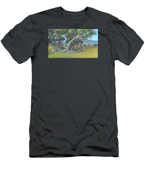 Men's T-Shirt (Slim Fit) featuring the painting Resting Cowboy Painting A Study by  Luczay