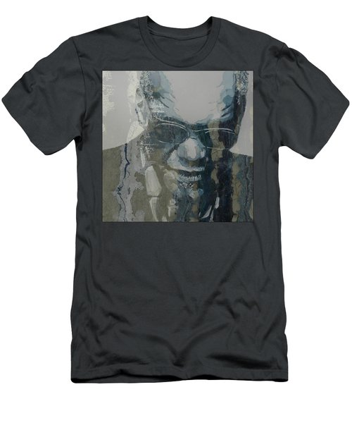 Men's T-Shirt (Slim Fit) featuring the mixed media Retro / Ray Charles  by Paul Lovering