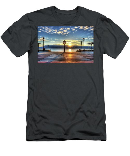 Revere Beach Clock At Sunrise Angled Long Shadow Revere Ma Men's T-Shirt (Athletic Fit)
