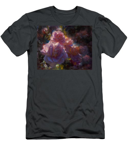 Men's T-Shirt (Slim Fit) featuring the painting Rhapsody Roses - Flowers In The Garden Painting by Karen Whitworth