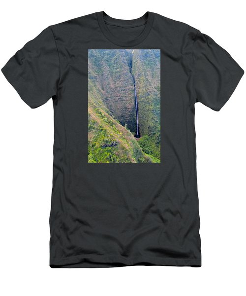 Men's T-Shirt (Slim Fit) featuring the photograph Ribbon Falls On The Napali Coast by Brenda Pressnall