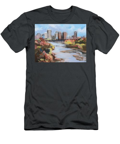 Richmond Virginia Skyline In Autumn Men's T-Shirt (Athletic Fit)