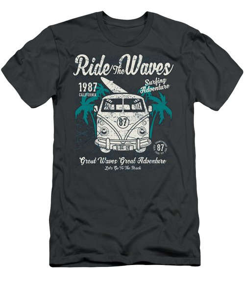 Ride The Waves Men's T-Shirt (Athletic Fit)