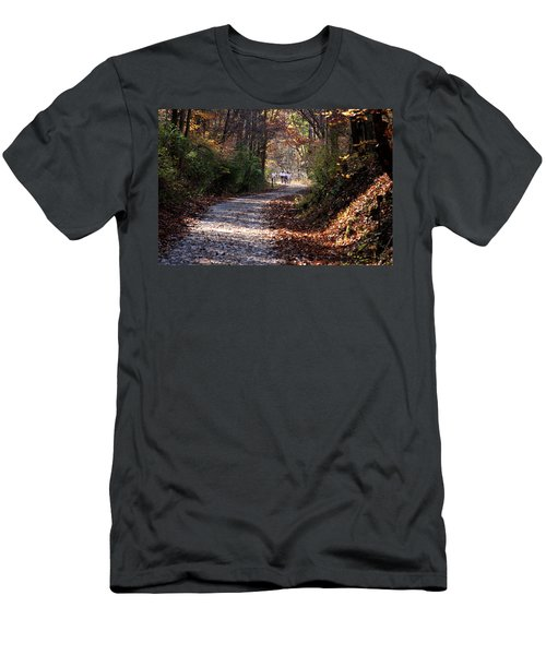 Men's T-Shirt (Slim Fit) featuring the photograph Riding Bikes On Park Trail In Autumn by Emanuel Tanjala