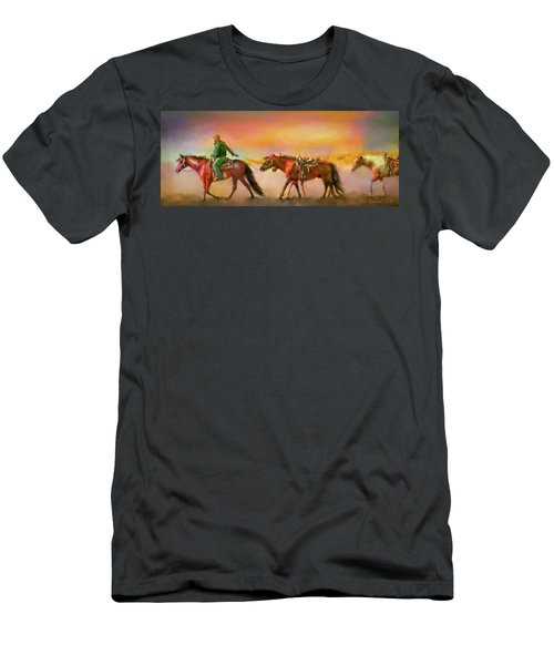 Men's T-Shirt (Slim Fit) featuring the digital art Riding The Surf by Kari Nanstad
