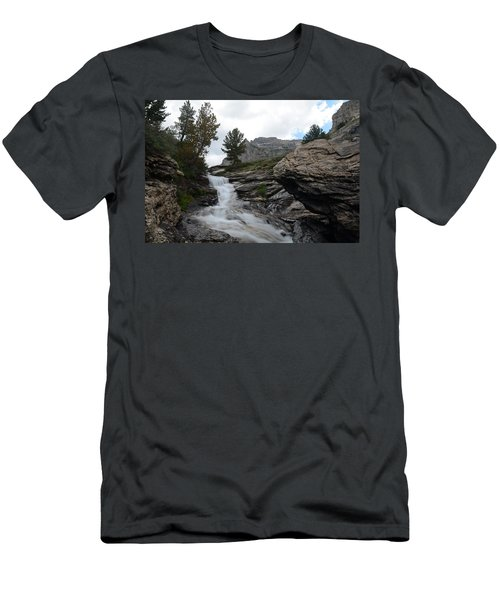Right Fork Waterfall Men's T-Shirt (Slim Fit) by Jenessa Rahn