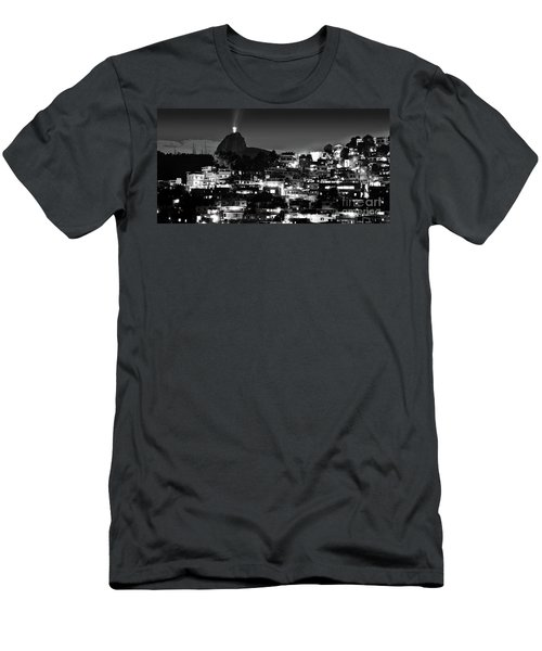 Rio De Janeiro - Christ The Redeemer On Corcovado, Mountains And Slums Men's T-Shirt (Athletic Fit)