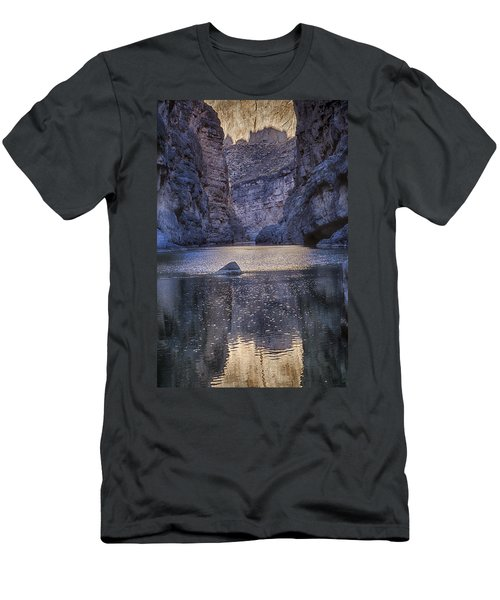 Men's T-Shirt (Slim Fit) featuring the tapestry - textile Rio Grand, Santa Elena Canyon Texas by Kathy Adams Clark