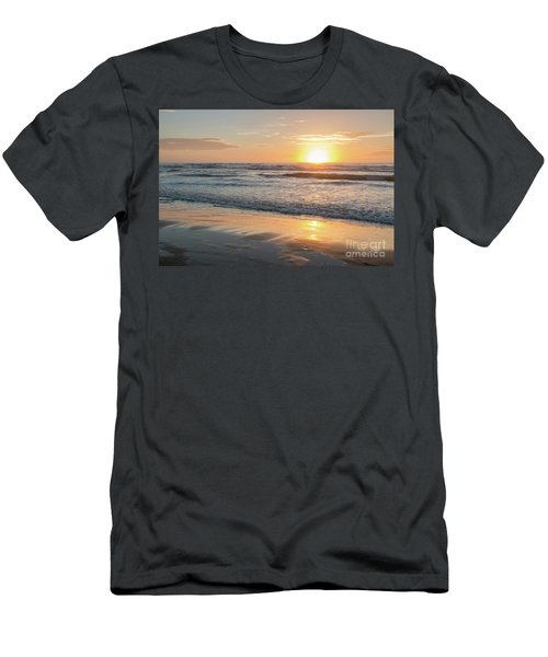 Rising Sun Reflecting On Wet Sand With Calm Ocean Waves In The B Men's T-Shirt (Athletic Fit)