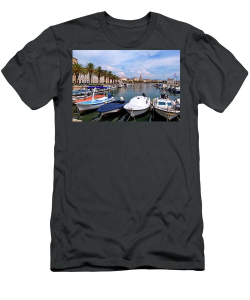 Riva Waterfront, Houses And Cathedral Of Saint Domnius, Dujam, Duje, Bell Tower Old Town, Split, Croatia Men's T-Shirt (Slim Fit) by Elenarts - Elena Duvernay photo