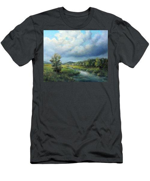 River Landscape Spring After The Rain Men's T-Shirt (Athletic Fit)