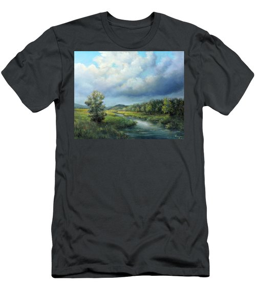 River Landscape Spring After The Rain Men's T-Shirt (Athletic Fit)