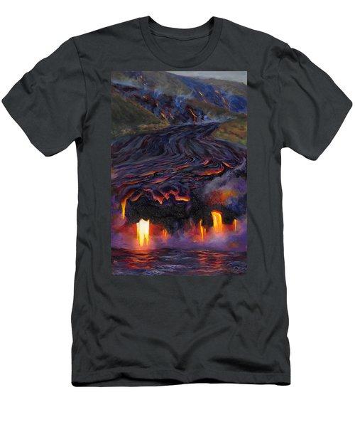 River Of Fire - Kilauea Volcano Eruption Lava Flow Hawaii Contemporary Landscape Decor Men's T-Shirt (Athletic Fit)