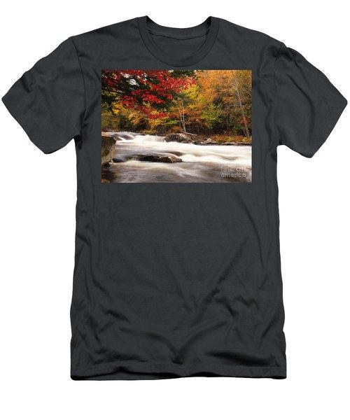 River Rapids Fall Nature Scenery Men's T-Shirt (Athletic Fit)