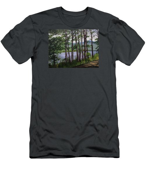 Men's T-Shirt (Slim Fit) featuring the painting River Road by Ron Richard Baviello