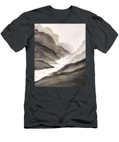 Men's T-Shirt (Slim Fit) featuring the painting River Running Through Mountains by Edwin Alverio
