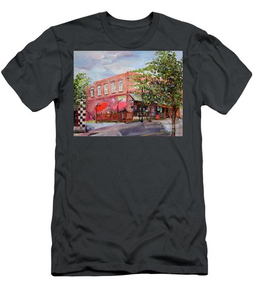 Men's T-Shirt (Athletic Fit) featuring the painting River Street Tavern-ellijay, Ga - Cheers by Jan Dappen