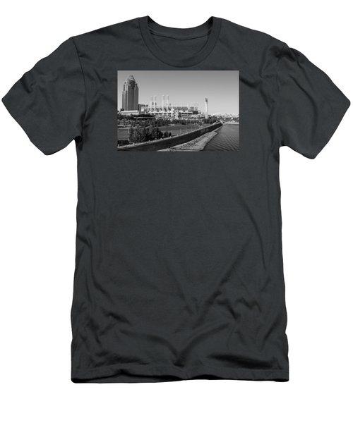 Riverfront Stadium Black And White  Men's T-Shirt (Slim Fit) by John McGraw