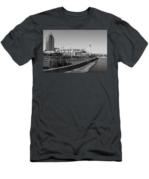 Riverfront Stadium Black And White  Men's T-Shirt (Athletic Fit)