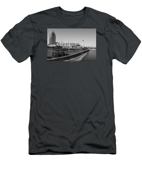 Riverfront Stadium Black And White  Men's T-Shirt (Athletic Fit)