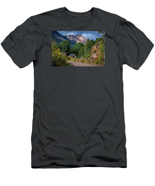 Road Towards Cinnamon Pass Men's T-Shirt (Slim Fit) by Michael J Bauer