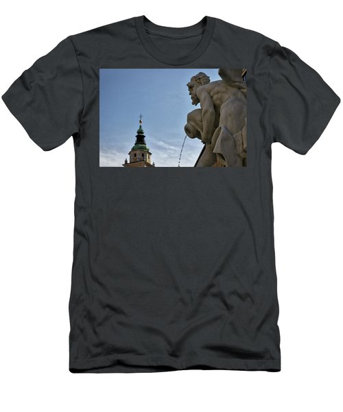 Men's T-Shirt (Athletic Fit) featuring the photograph Robba Fountain - Ljubljana Slovenia by Stuart Litoff