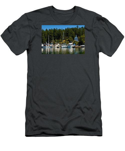 Roche Harbor Marina Men's T-Shirt (Slim Fit) by Chuck Flewelling