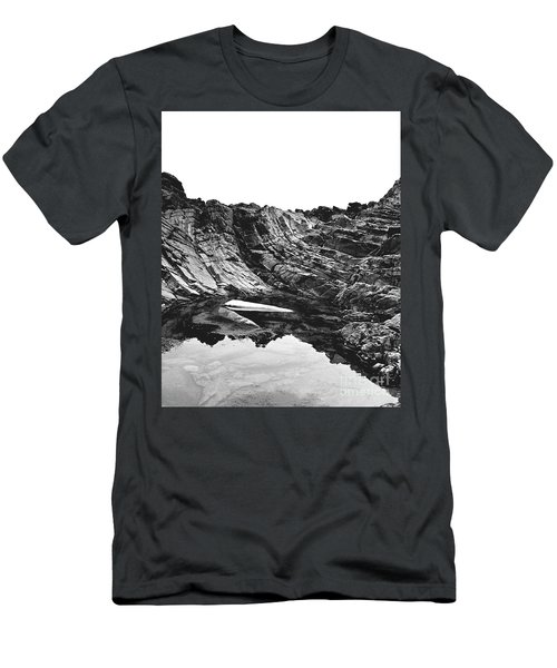 Men's T-Shirt (Slim Fit) featuring the photograph Rock - Detail by Rebecca Harman