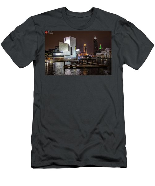 Men's T-Shirt (Slim Fit) featuring the photograph Rock Hall Of Fame And Cleveland Skyline by Peter Ciro