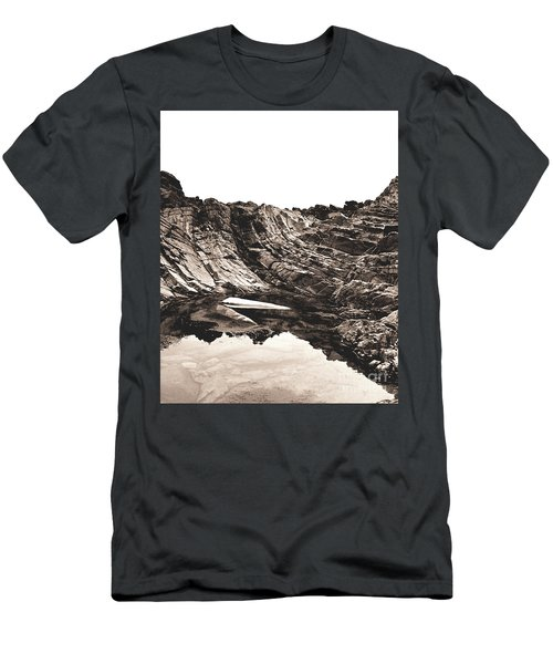 Men's T-Shirt (Slim Fit) featuring the photograph Rock - Sepia Detail by Rebecca Harman