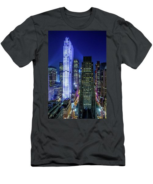 Men's T-Shirt (Slim Fit) featuring the photograph Rockefeller At Night by M G Whittingham