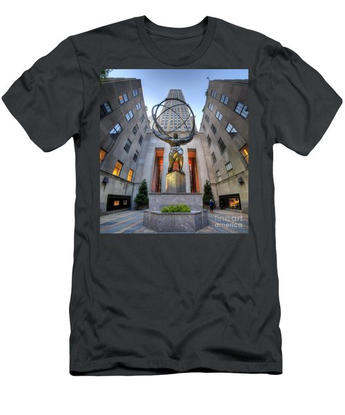 Rockefeller Centre Atlas - Nyc - Vertorama Men's T-Shirt (Athletic Fit)