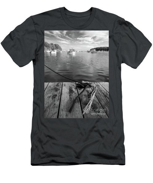 Rockport Harbor, Maine #80458-bw Men's T-Shirt (Athletic Fit)