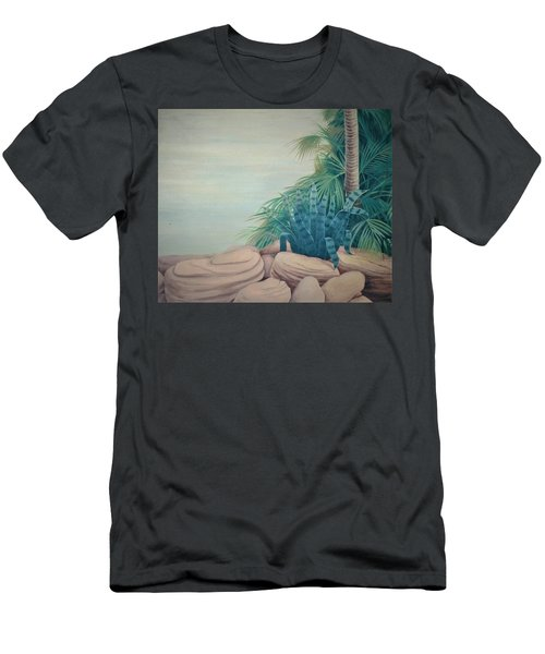 Rocks And Palm Tree Men's T-Shirt (Athletic Fit)