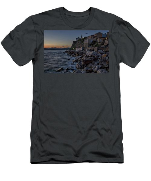 Men's T-Shirt (Athletic Fit) featuring the photograph Rocky Coast At Dawn - Piran - Slovenia by Stuart Litoff