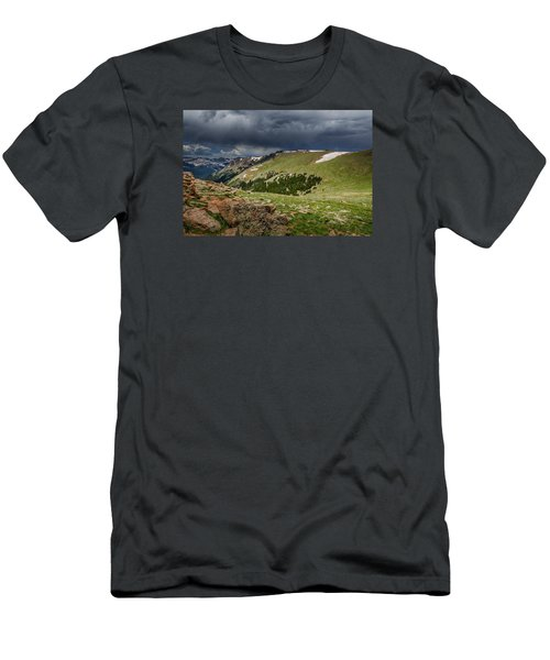 Rocky Mountain Strorm Men's T-Shirt (Slim Fit) by Mary Angelini