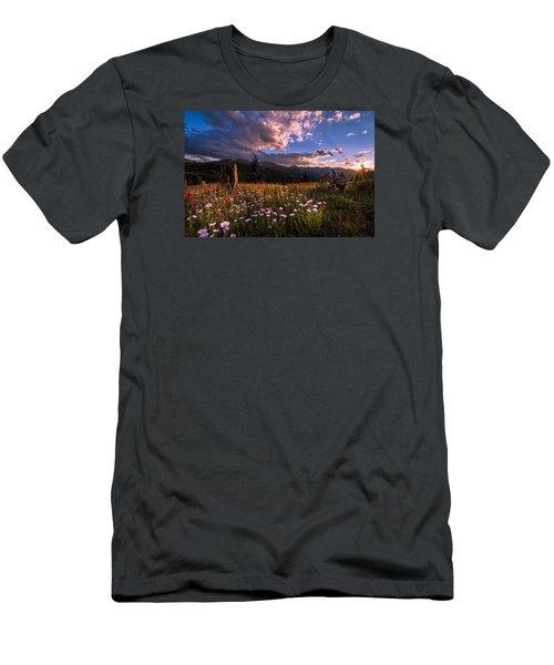 Rocky Mountain Summer Sunset Men's T-Shirt (Slim Fit) by Michael J Bauer