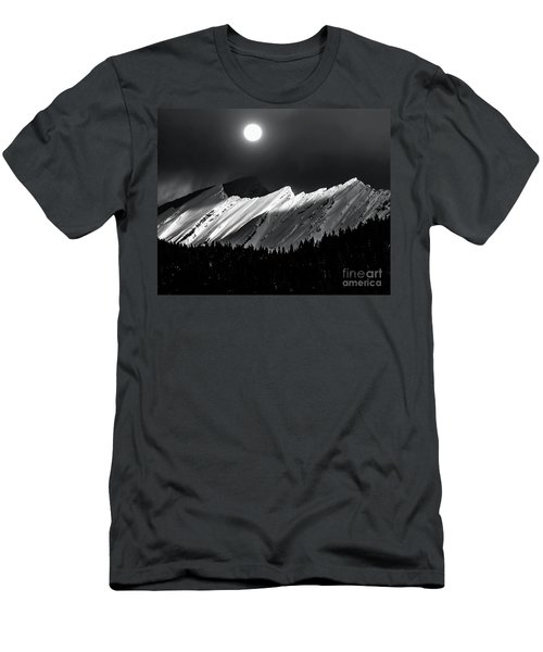 Rocky Mountains In Moonlight Men's T-Shirt (Slim Fit) by Elaine Hunter