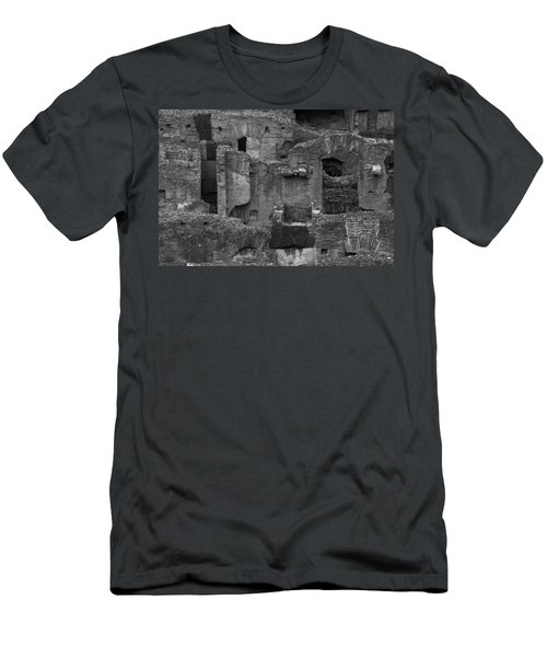 Men's T-Shirt (Slim Fit) featuring the photograph Roman Colosseum Bw by Silvia Bruno