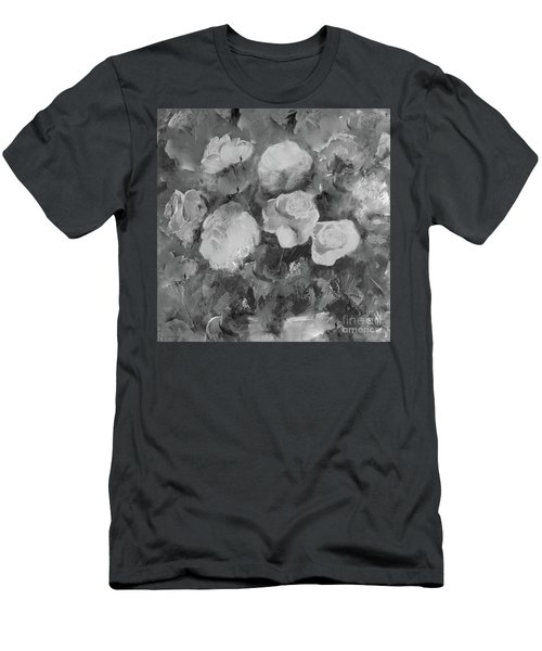 Men's T-Shirt (Athletic Fit) featuring the painting Romantic Large Roses  by Robin Maria Pedrero