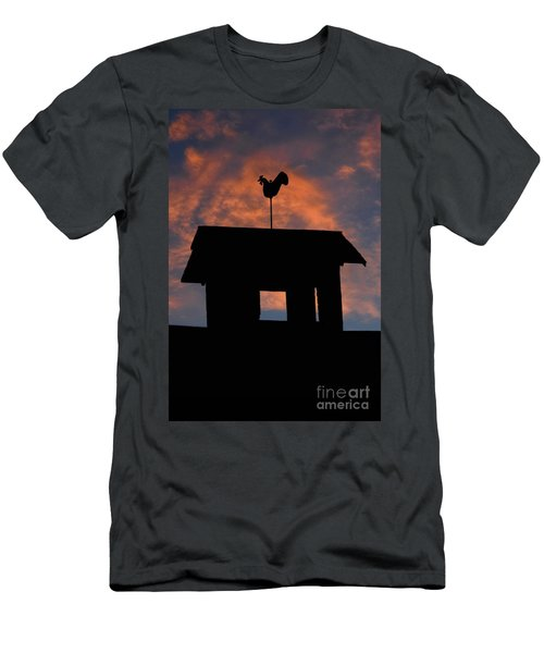 Rooster Weather Vane Silhouette Men's T-Shirt (Slim Fit) by Henry Kowalski